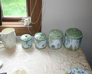 Bird Houses and Butterfly Gardens 4 piece Porcelain Canister Set