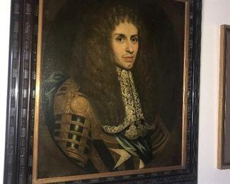Antique 18th century portrait of  uniformed gentleman