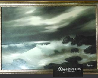 "Dynamic Framed Seascape by Bergamaschi. Original oil painting. 39"" by 27""."