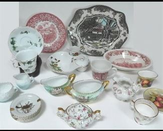 Samples of Porcelain items. Plates, Cups, Platter, Sugar Bowls, Creamers and more.