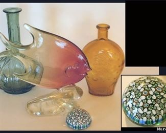 Glass Creations including a Murano  Millefiori Paperweight.