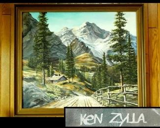 "Early Ken Zylla Original Oil Painting.  34"" x 28""."