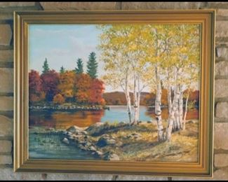 Large Ken Zylla Original Oil Painting of Birches and Lake.