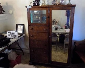 Antique wardrobe with two mirrors, 43x21 x 62 tall, 4 drawers, pull out clothing hanger,missing some knobs