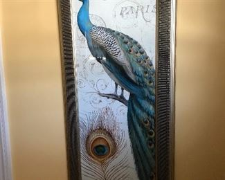 Matching pair of peacock prints