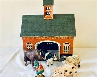 Metal Barn and Farm Animals.