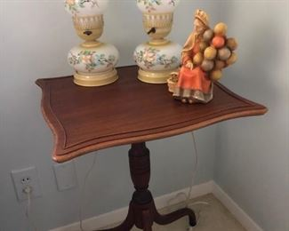 Antique side table and antique lamps