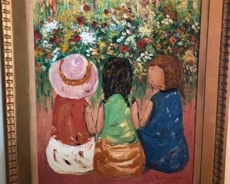 Large painting of three girls