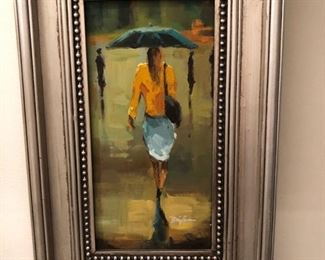 Painting girl with umbrella
