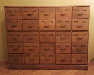 25Drawer Antique Library File Cabinet