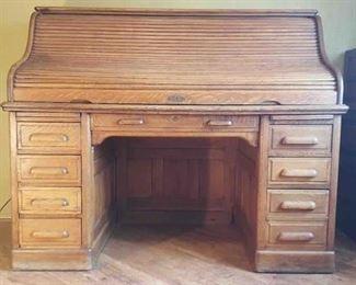 Roll Top Antique Oak Desk