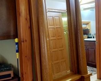 Another stunning piece - approx. 9' wooden entryway mirror w/pillars