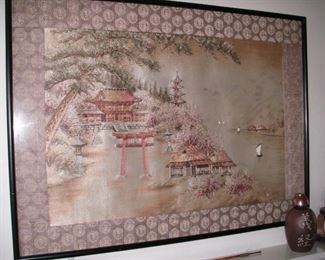 Large framed silk embroidery