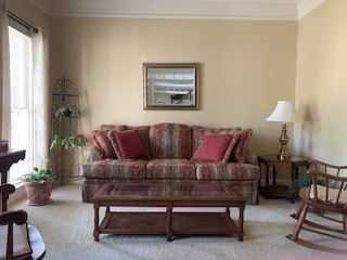 Broyhill Velutinous Sofa, coffee table, rockers pictures, lamps