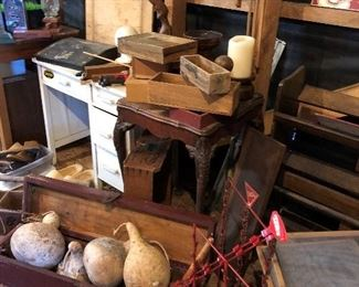 Old desk, tool box, gourds, old boxes, Tom's display