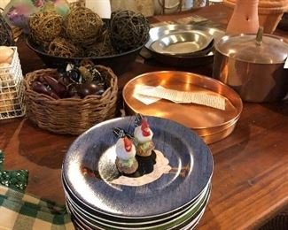 Cute pates, copper pots and pans on harvest table