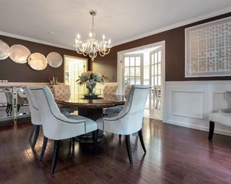 Grange cherry Transitional table, six Restoration Hardware chairs, Horchow mirrored buffet, artwork not being sold