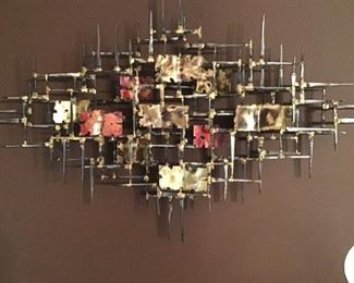 Curtis Jere mixed metal mid 20thc  nail wall sculpture