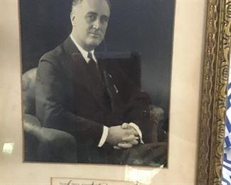 Framed 1940's vintage autographed photo of President Franklin Roosevelt