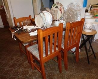 wooden dining table w/4 chairs