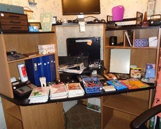 desk & much office supplies