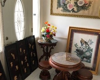 Chinese tea table, Chinese wall hangings black with ivory colored in sets of happy men or boys