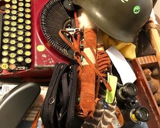 Miscellaneous including antique typewriter that works, binoculars, combat hat and much more