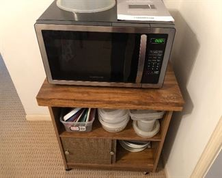 Microwave fairly new with microwave cart