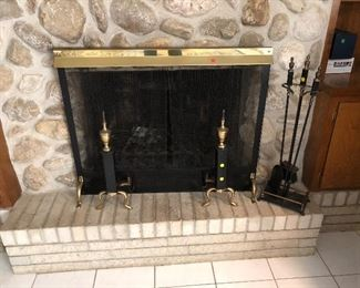 Andirons, fireplace screen and tools