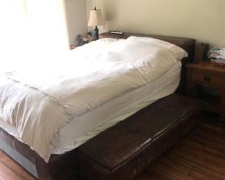 Leather Bed,  Bench, Bedside tables  each