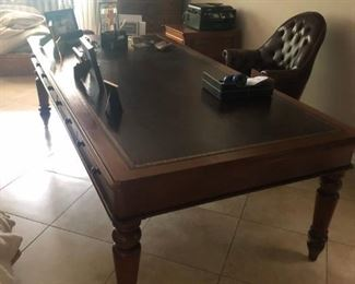 Very large Leather Topped Library Desk, leather high backed office chairs