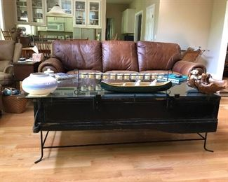 custom coffee table from a Model T Ford truck bed