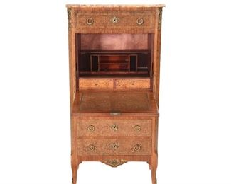 French Louis XV Style Fall Front Desk with Burlwood Inlay and Marquetry Floral Motif