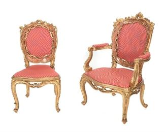 Pair of French style Giltwood Chairs