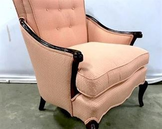 Vintage Wood Framed Upholstered Armchair In  salmon toned upholstery with double welting  and tufted back, measures approximately 31.5  inches tall x 27 inches wide x 29 inches  deep. Some chips to wood frame. Armchair, Side Chair, Accent Chair, Chair. home  furnishings and accessories, lounge chair,
