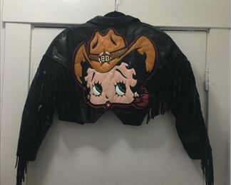 Vintage Leather Betty Boop fringe jacket