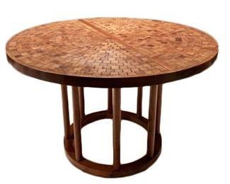 Lot 001 Midcentury Modern Marshall Martz Studio Round Dining Table Mosaic Style Wood Top