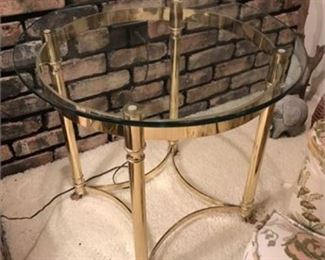 Lot 014 Round Brass & Glass End Table