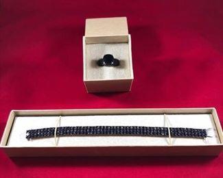 Black Spinel Ring Bracelet