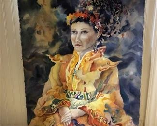 "Lot 008 Anne R. Eberle Unframed Watercolor ""Nu Huang"" (Empress)"