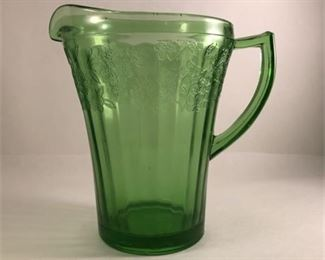 "Lot 011 Jeannette Glass Co. Green Depression Glass ""Cherry Blossom"" 36 oz. Pitcher"