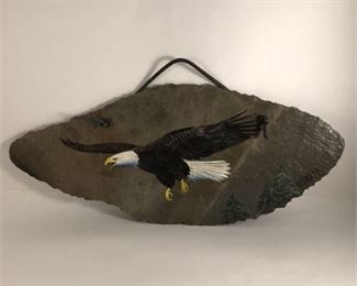 Lot 013 Mary Beth Alexander hand-painted slate eagle painting