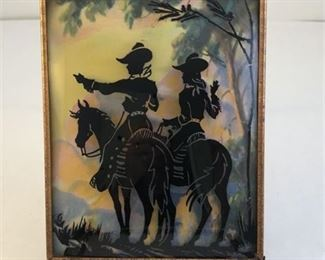 Lot 144 1940's Reverse Paint Silhouette Western Roy Rogers