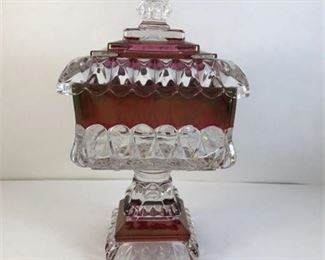 Lot 145 Westmoreland Ruby Flashed Wedding Box with Lid