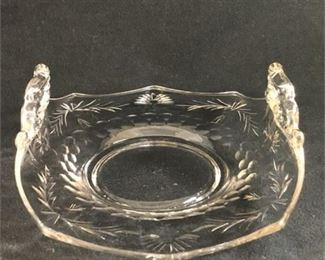 Lot 180 Pair of Vintage Cambridge Cut Glass Serving Dishes