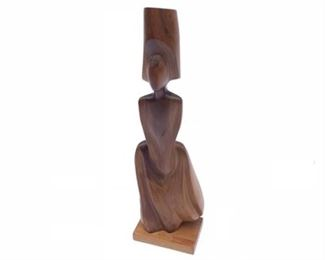 "Lot 007 26"" - Mid Century Biomorphic Carved Wood Sculpture"