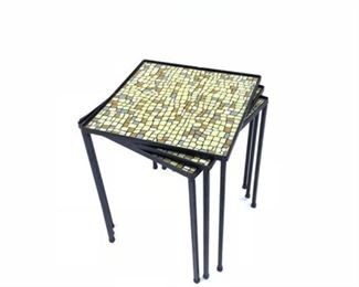 Lot 12 Mid Century Iron Nest of Tables