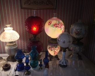Assortment of Antique and vintage lamps