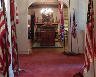 FLAGS THROUGHOUT THE HOUSE-VIEW OF ENTRY FOYER FROM LIVING ROOM ACROSS TO DINING ROOM
