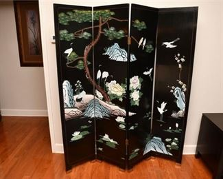 5. Four 4 Panel Chinese Nature Scene Folding ScreenRoom Divider